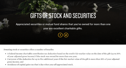 The Southern Poverty Law Center provides a separate page with information on major gifts of stock to build awareness with Millennial donors.
